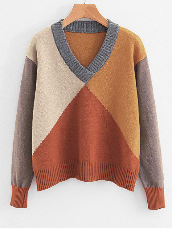 Pullover mit farblich abgesetztem V-Ausschnitt - Multi Eine Größe