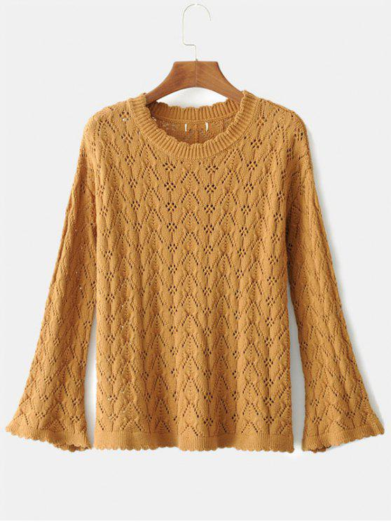 ladies Flare Sleeve Loose Knit Sweater - CARAMEL S