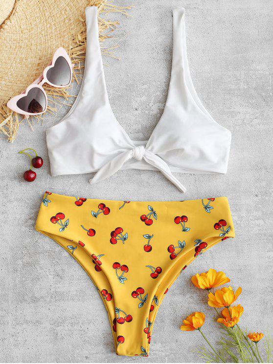 Conjunto de biquínis de corte alto de nó de cereja - Borracha Ducky Amarela S