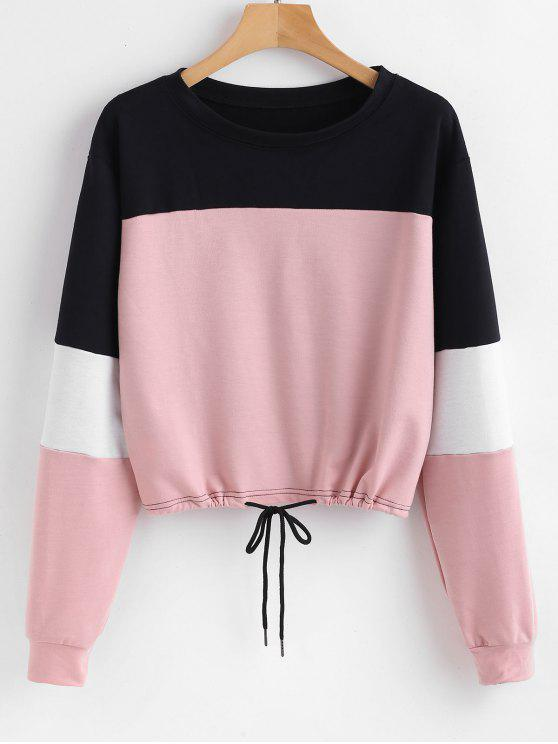 affordable Pullover Color Block Sweatshirt - PINK XL