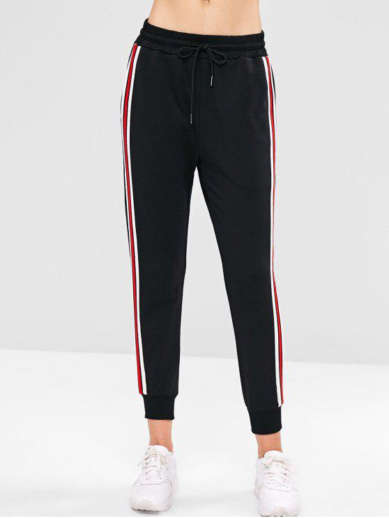 unique ZAFUL High Waisted Striped Patched Pants - BLACK S