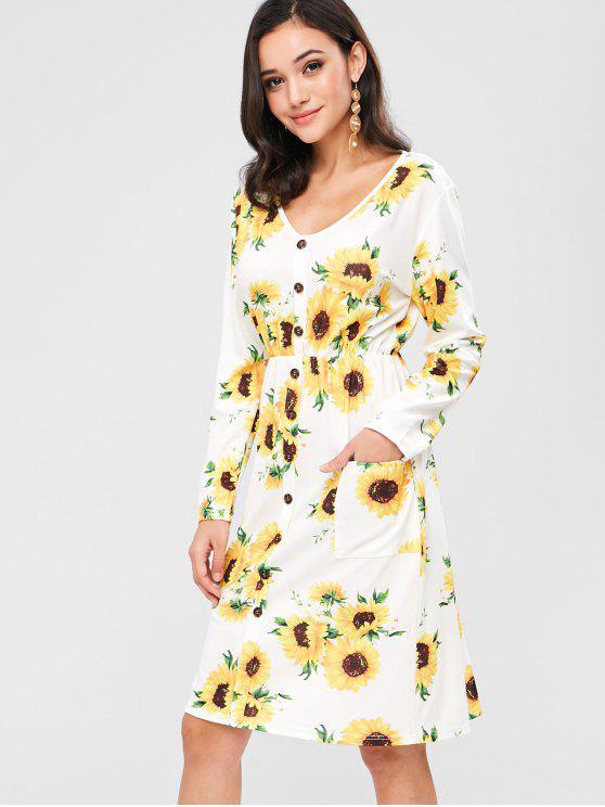 womens ZAFUL Buttoned Sunflower Midi Long Sleeve Dress - MULTI M