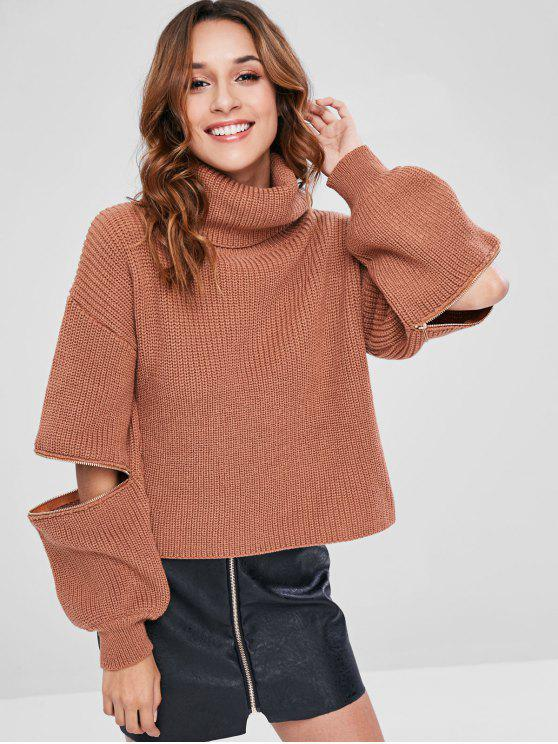 sale ZAFUL Lantern Sleeves Turtleneck Chunky Sweater - TIGER ORANGE ONE SIZE