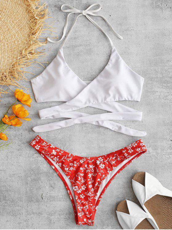 online ZAFUL Flower Halter Wrap Bikini Set - FIRE ENGINE RED S