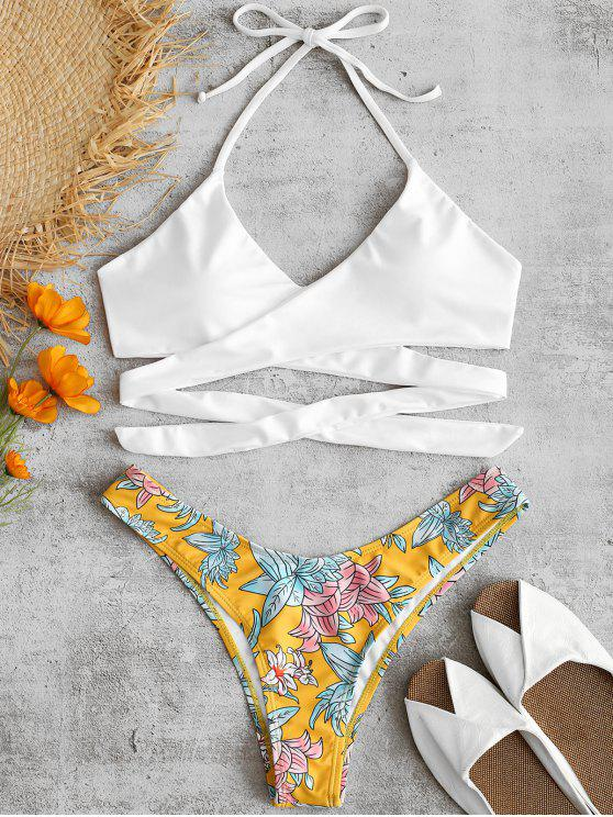 fashion ZAFUL Flower Wrap Bikini Set - BRIGHT YELLOW S
