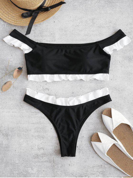 trendy ZAFUL Frilled Off The Shoulder Bikini Set - BLACK M