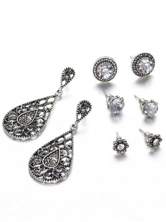hot Vintage Hollow Out Water Drop Flora Earrings Set - DARK GRAY