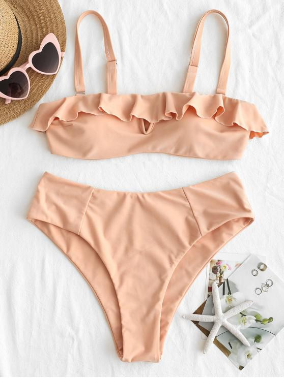 women ZAFUL Ruffles Bandeau Bikini Set - ORANGE PINK L