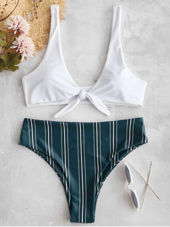 fashion Tie Front Striped Bikini Set - MEDIUM FOREST GREEN M