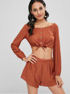 Long Sleeve Crop Top And Shorts Co Ord Set - Shocking Orange M