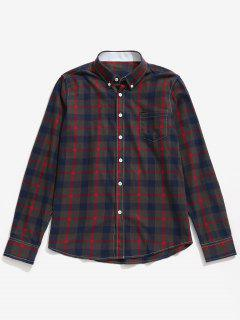 Chest Pocket Button Down Checked Shirt - Red Xs