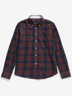 Chemise à Carreaux Boutonnée Avec Poche Poitrine - Rouge M