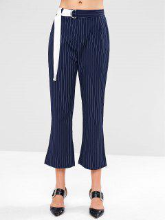 High Waisted Pinstripe Wide Leg Pants - Deep Blue S