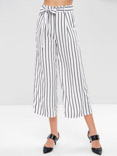 Striped Belted Wide Leg Pants - White L