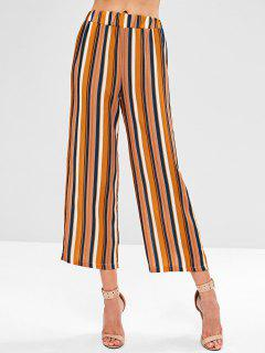 Striped High Waist Wide Leg Pants - Multi L