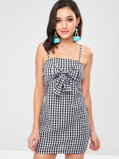 Tie Front Strappy Back Gingham Dress - Black L