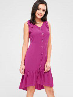 Ruffle Hemline Button Up Mini Dress - Rose Red M