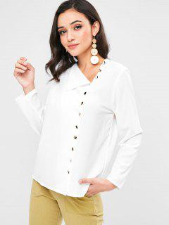 Button Up Long Sleeve Blouse - White L