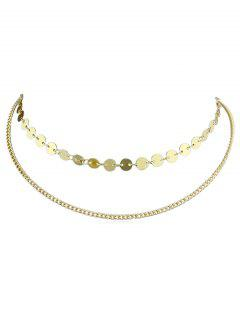 Alloy Layer Chain Disc Necklace - Gold
