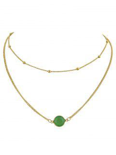 Layer Artificial Gem Pendant Chain Necklace - Green