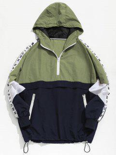 Color Block Zipper Striped Hoodie Jacket - Green L