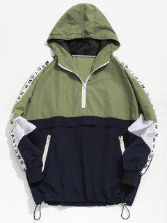 Color Block Zipper Striped Hoodie Jacket - Green 2xl