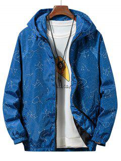 Constellation Print Waterproof Hooded Jacket - Blue Jay L