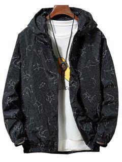 Constellation Print Waterproof Hooded Jacket - Black S