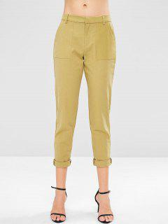 Low Waist Plain Capri Pants - Avocado Green M