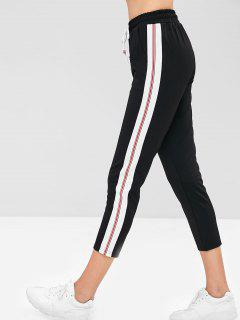Drawstring Striped Trim Straight Pants - Black L