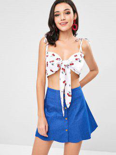 Tie Front Cherry Print Cami Top - White S