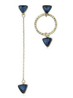 Circle Asymmetric Earrings With Rhinestone - Gold