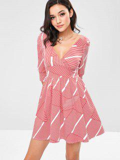 Low Cut Striped Flare Dress - Red L