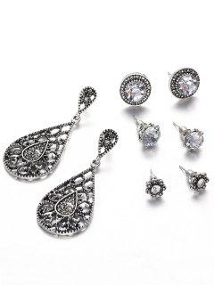 Vintage Hollow Out Water Drop Flora Earrings Set - Dark Gray