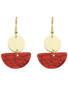 Round Semicircle Drop Earrings - Red