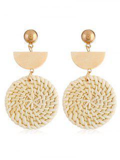 Geometric Design Straw Weave Rattan Knit Earrings - Gold