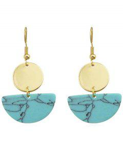 Round Semicircle Drop Earrings - Blue