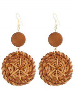 Circle Shape Rattan Knit Hook Earrings - Brown