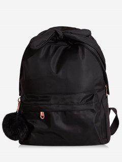 Bowknot Top Handle Solid School Backpack - Black