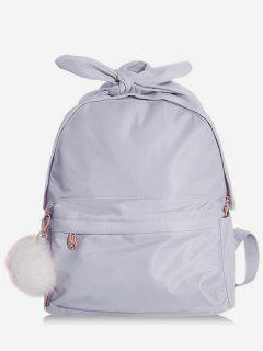 Bowknot Top Handle Solid School Backpack - Blue Gray