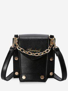 Stud Decorative Flap Shoulder Bag - Black