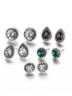 Faux Gem Inlaid Geometric Stud Earrings Set - Multi-a
