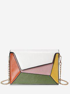 Color Block PU Leather Chain Crossbody Bag - White