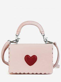 Heart PU Leather Flap Crossbody Bag - Pink