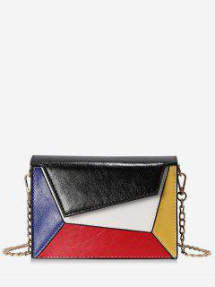 Color Block PU Leather Chain Crossbody Bag - Black