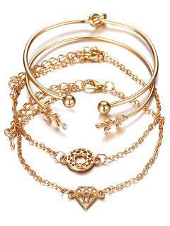 Rhinestone Leaf Diamond Knot Cuff Bracelet Suit - Gold