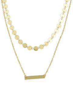 Layered Alloy Chain Disc Necklace - Gold