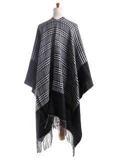Elegante Pata De Gallo Abrigo Reversible Bufanda - Negro Un TamaÑo