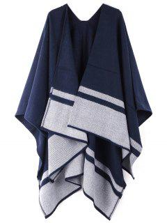 Striped Pattern Oversized Shawl Scarf - Lapis Blue One Szie