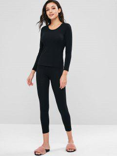 Long Underwear Thermal Top And Pants Set - Black L
